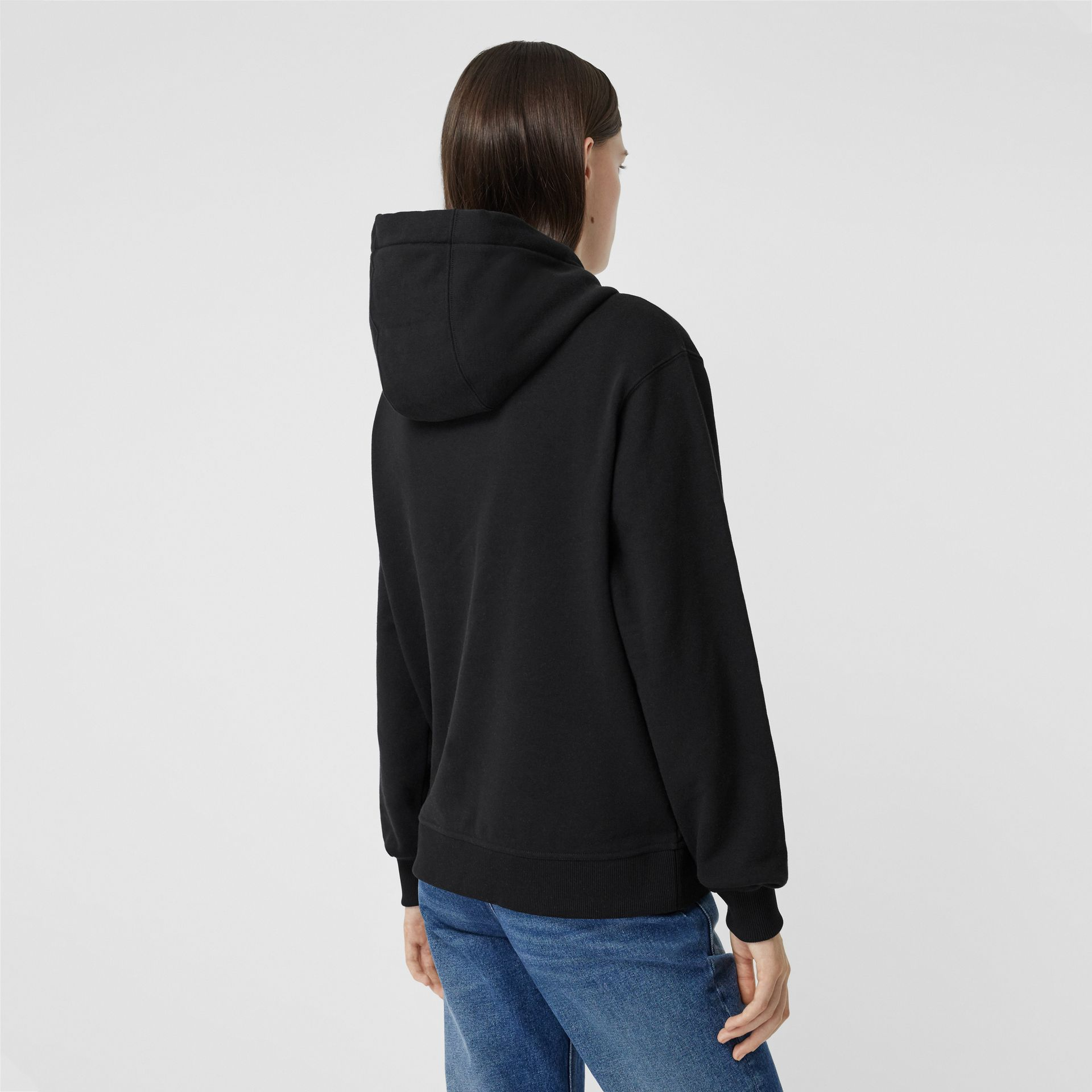 Flag Appliqué and Print Cotton Oversized Hoodie in Black - Women | Burberry Hong Kong S.A.R - gallery image 2