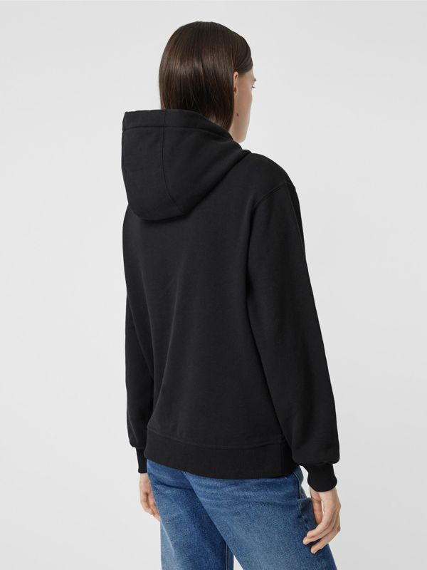 Flag Appliqué and Print Cotton Oversized Hoodie in Black - Women | Burberry - cell image 2