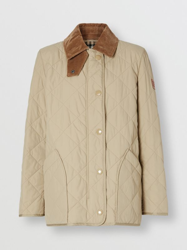 Diamond Quilted Thermoregulated Barn Jacket in Honey - Women | Burberry - cell image 3