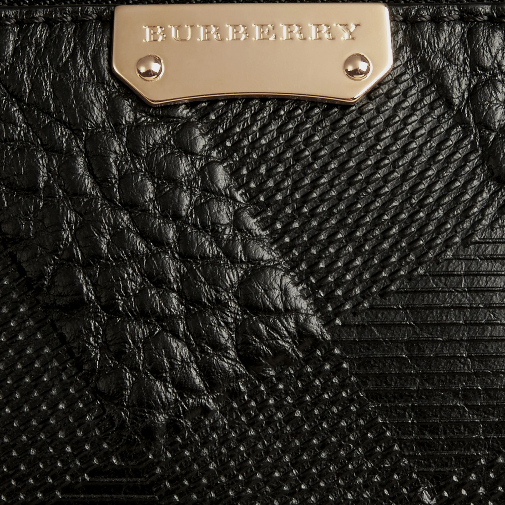 Black Check-embossed Leather Clutch Bag Black - gallery image 2