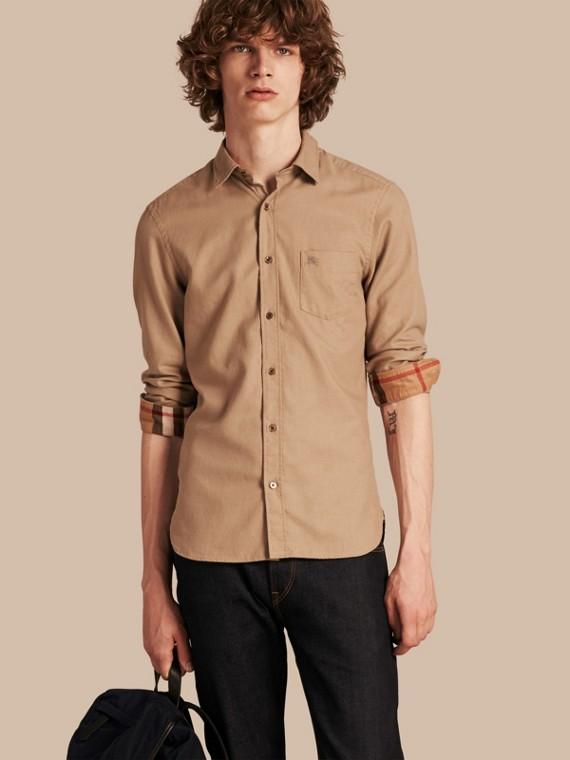 Camicia in flanella di cotone con dettagli tartan