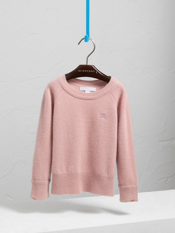 Check Cuff Cashmere Sweater in Dusty Pink - Girl | Burberry - cell image 2