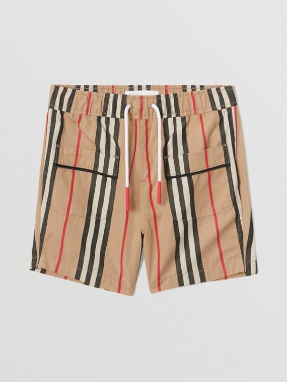 Chino-Shorts aus Baumwollpopelin mit Streifendetail (Vintage-beige)