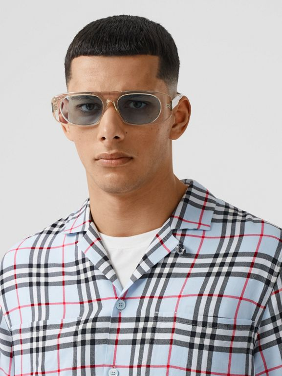 Short-sleeve Vintage Check Twill Shirt in Pale Blue - Men | Burberry United Kingdom - cell image 1