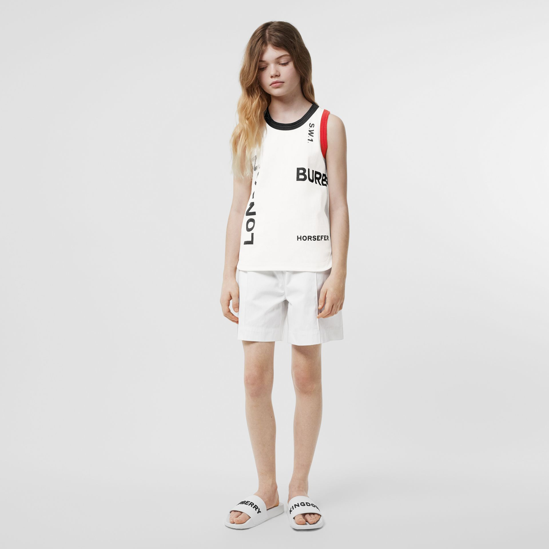 Logo Print Cotton Vest in White | Burberry - gallery image 2