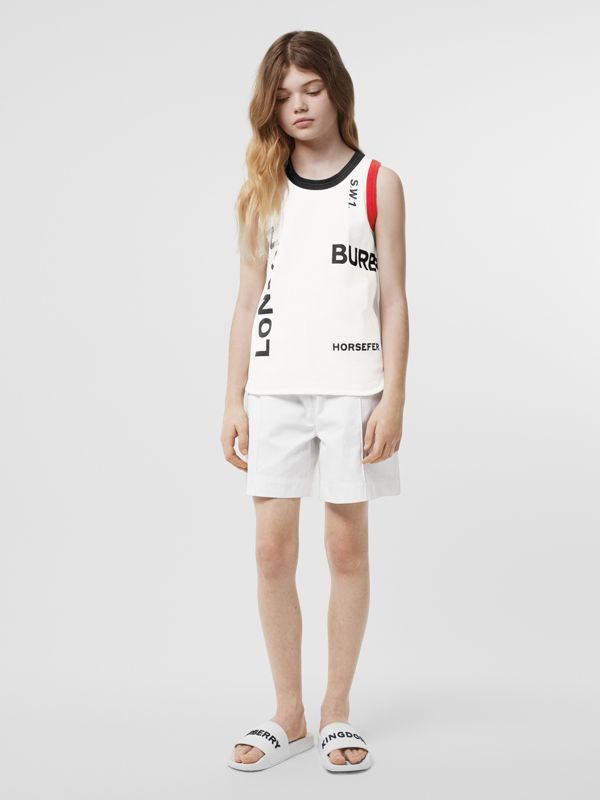 Logo Print Cotton Vest in White | Burberry - cell image 2