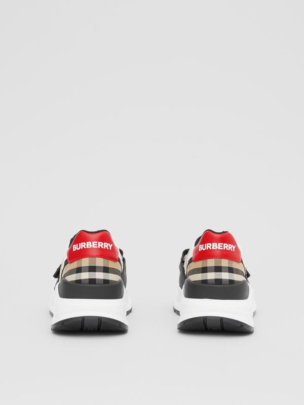 Nylon, Suede and Vintage Check Sneakers in Archive Beige - Women | Burberry United Kingdom - cell image 3