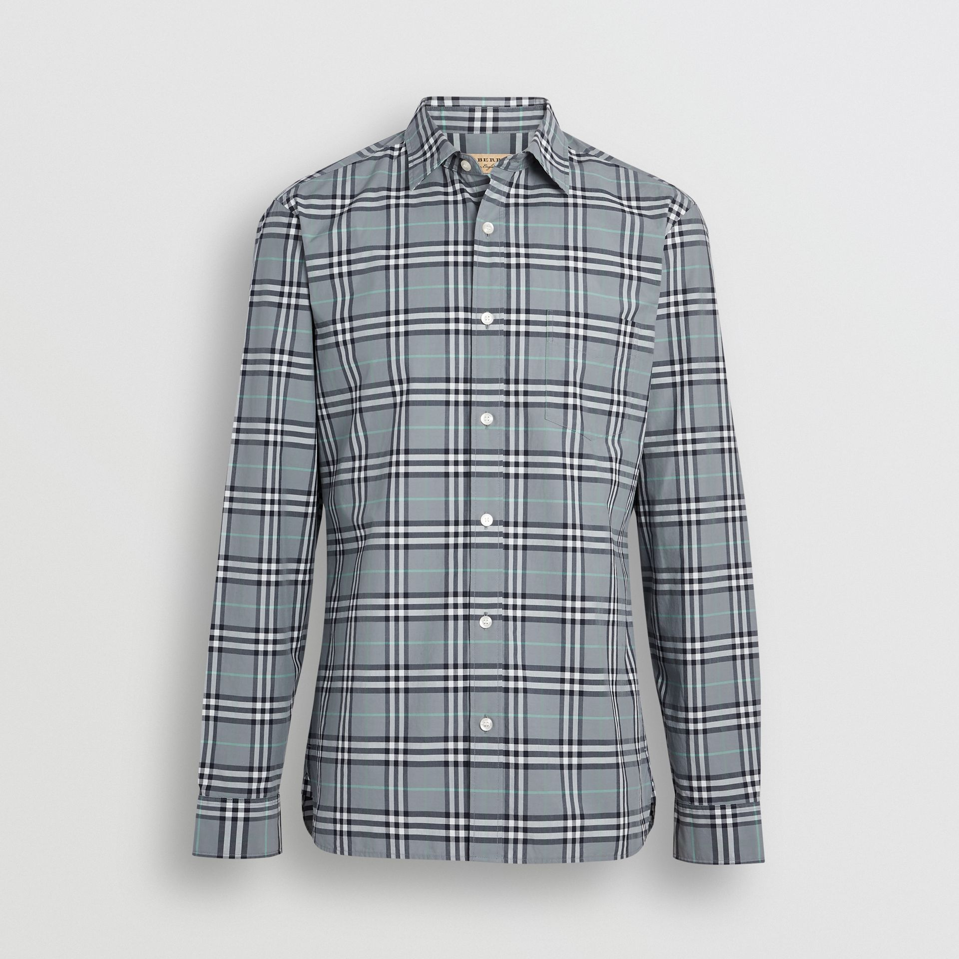 Check Cotton Shirt in Stone Blue - Men | Burberry - gallery image 3