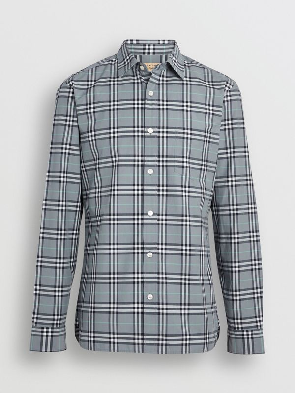 Check Cotton Shirt in Stone Blue - Men | Burberry Hong Kong - cell image 3