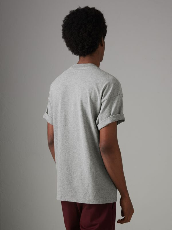 Sign Print Cotton T-shirt in Pale Grey Melange - Men | Burberry United Kingdom - cell image 2