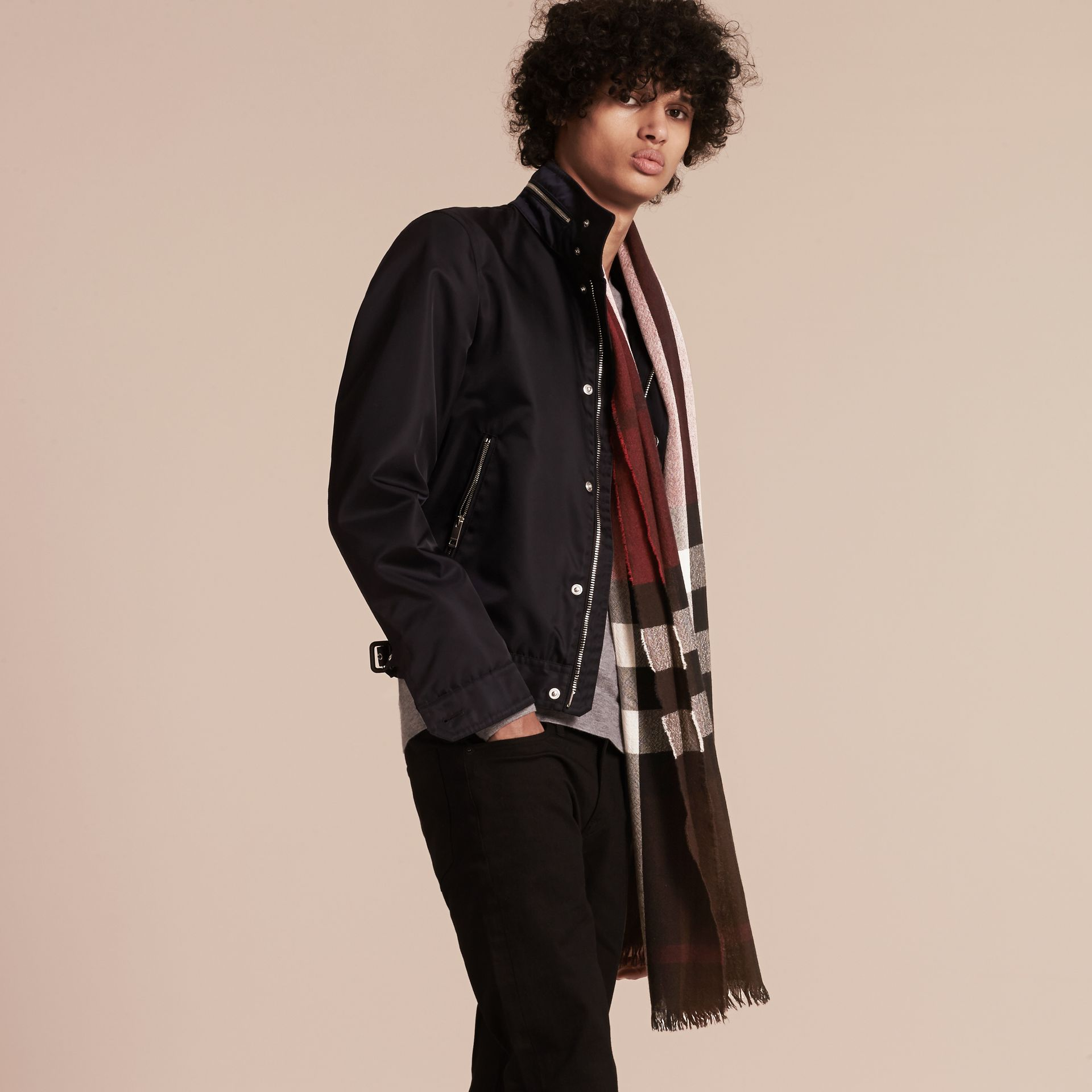 Claret Lightweight Check Wool Cashmere Scarf Claret - gallery image 3
