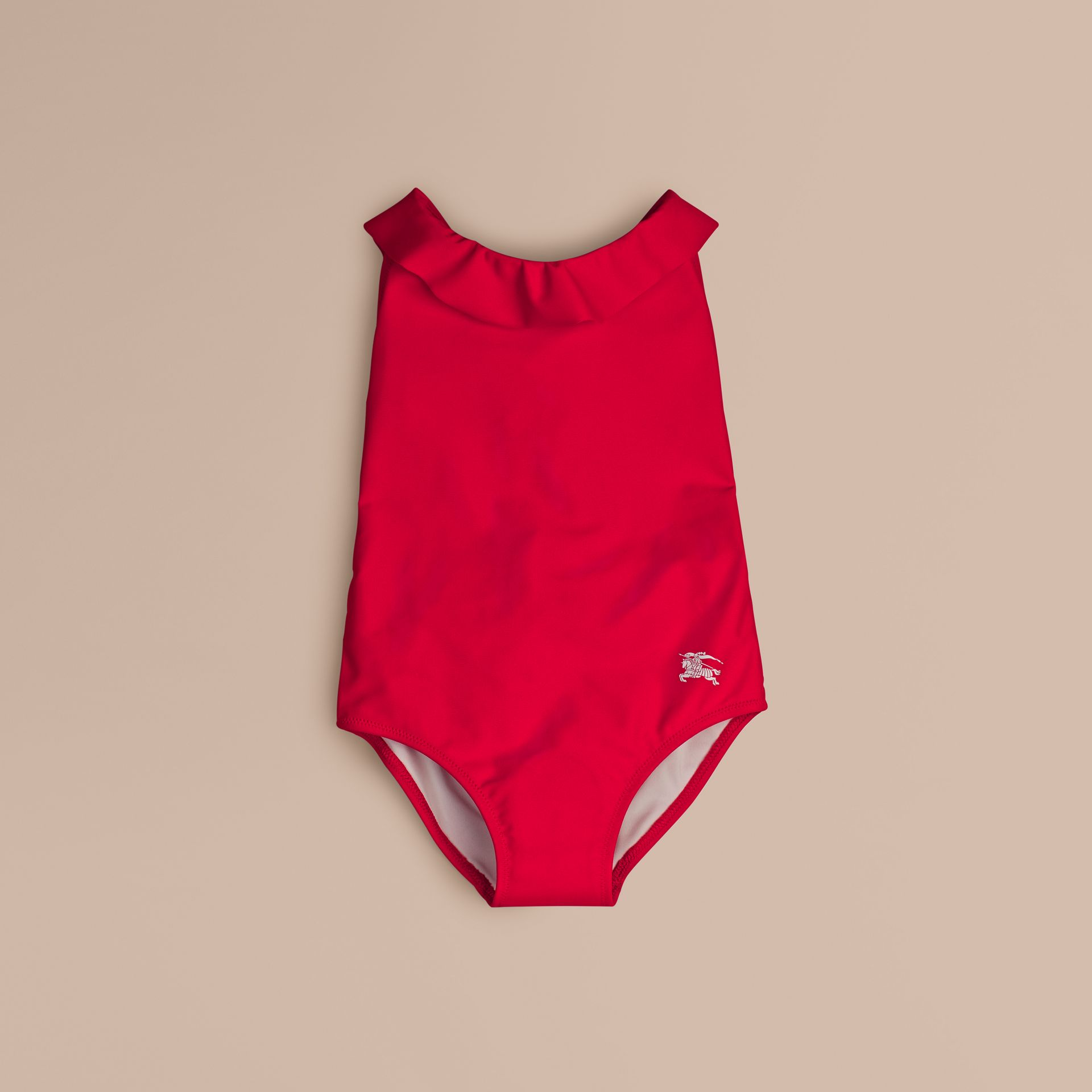 Ruffle Detail One-piece Swimsuit in Poppy Red - Girl | Burberry - gallery image 1