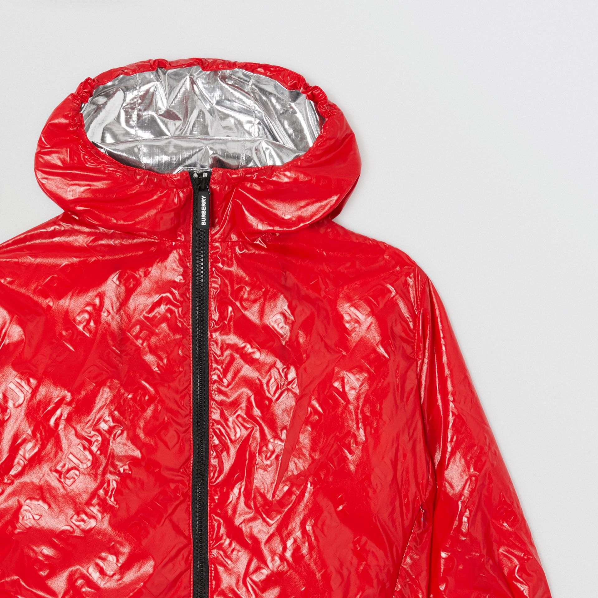 Logo Print Lightweight Hooded Jacket in Bright Red | Burberry United States - gallery image 5