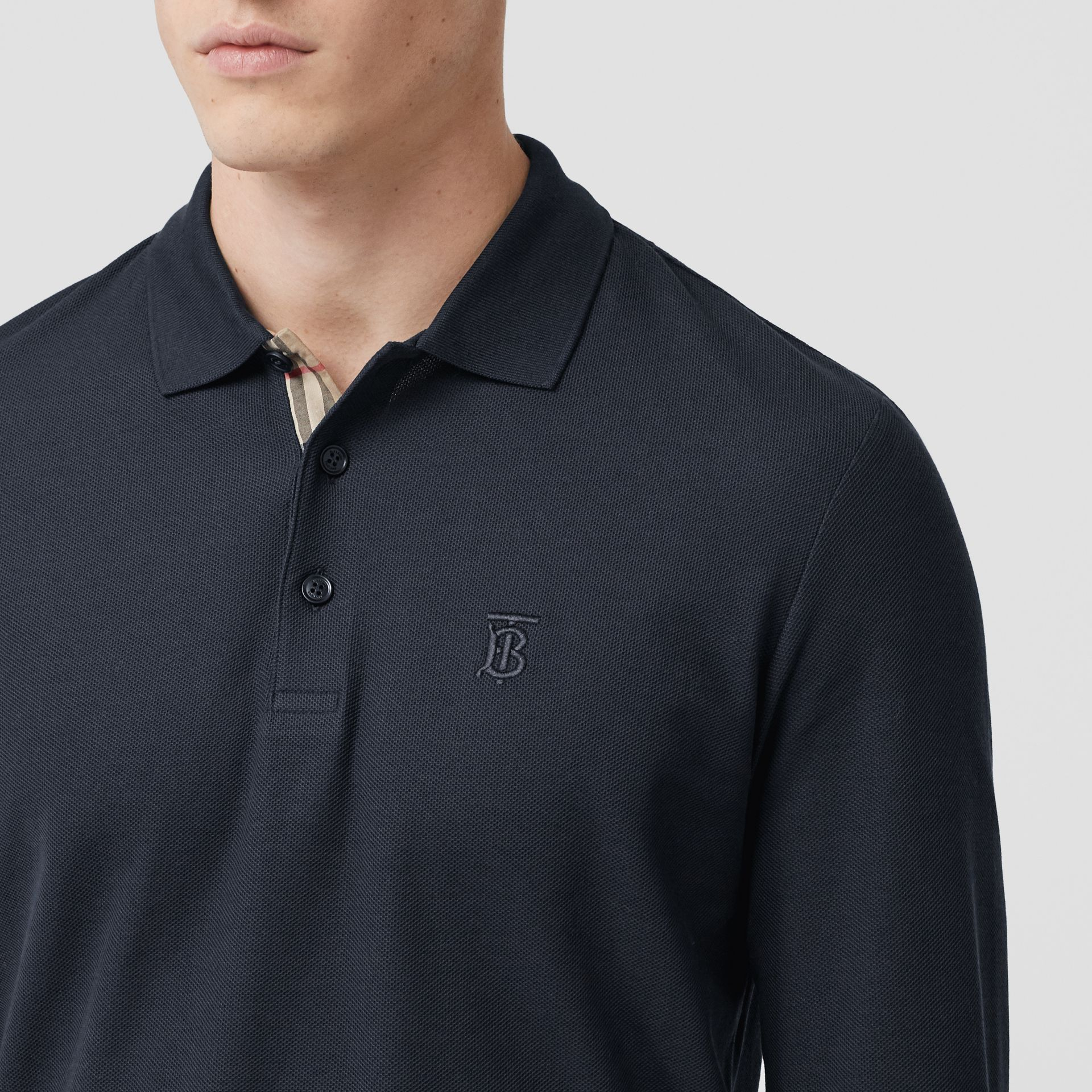 Long-sleeve Monogram Motif Cotton Piqué Polo Shirt in Navy - Men | Burberry - gallery image 1