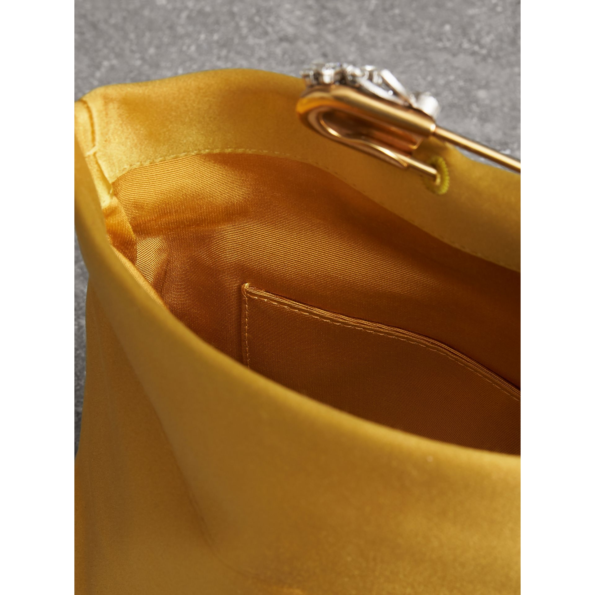 The Small Pin Clutch in Satin in Amber Yellow - Women | Burberry Singapore - gallery image 3