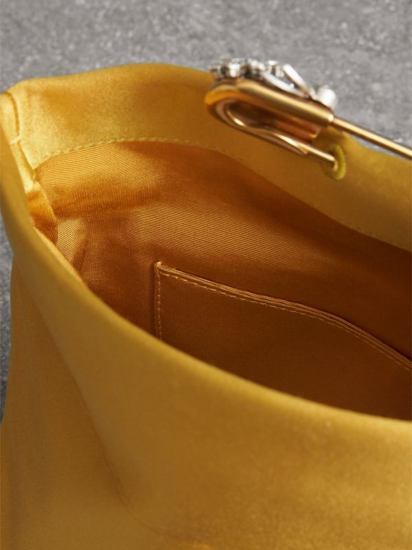 The Small Pin Clutch in Satin in Amber Yellow - Women | Burberry - cell image 3