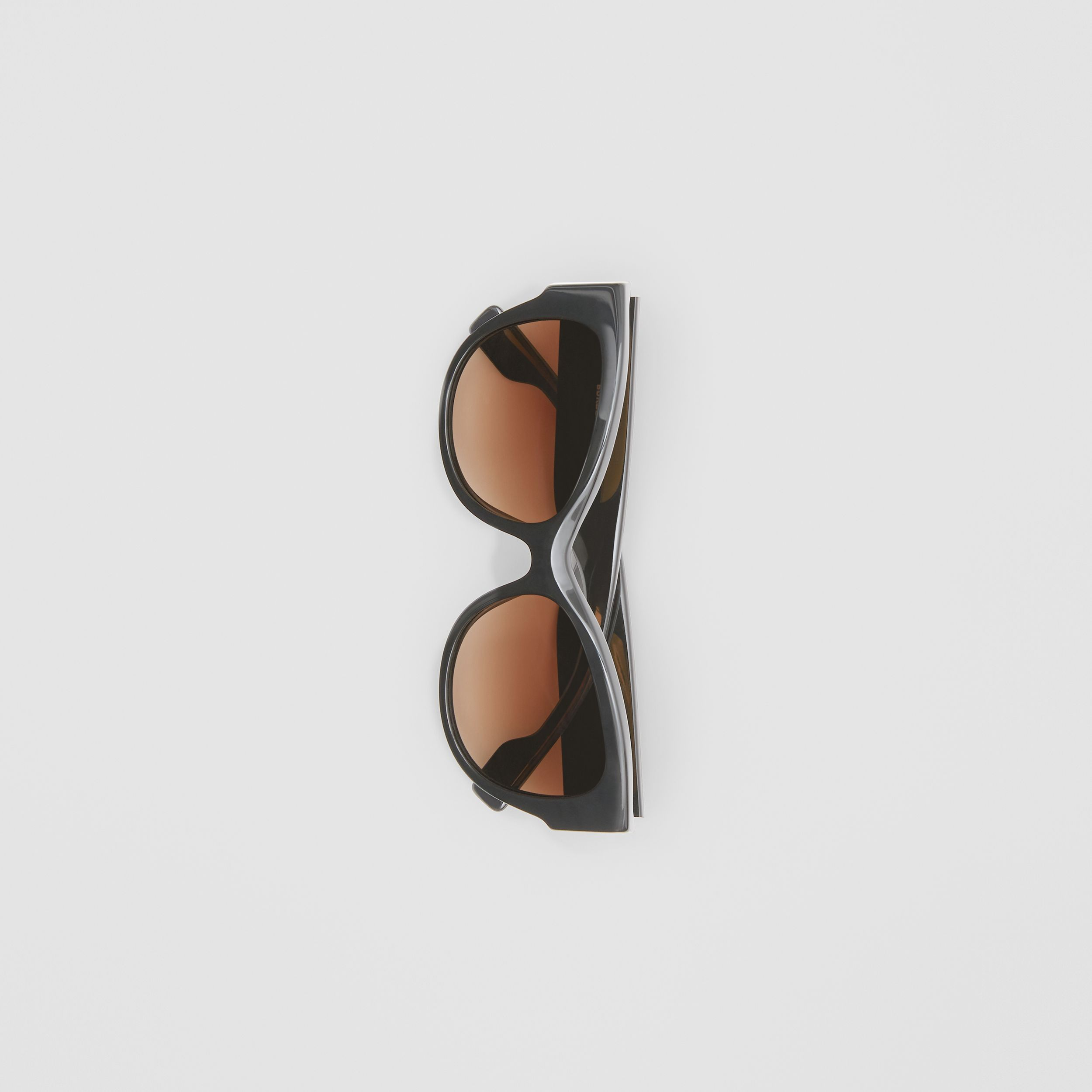 Monogram Detail Butterfly Frame Sunglasses in Black/vermillion - Women | Burberry - 4
