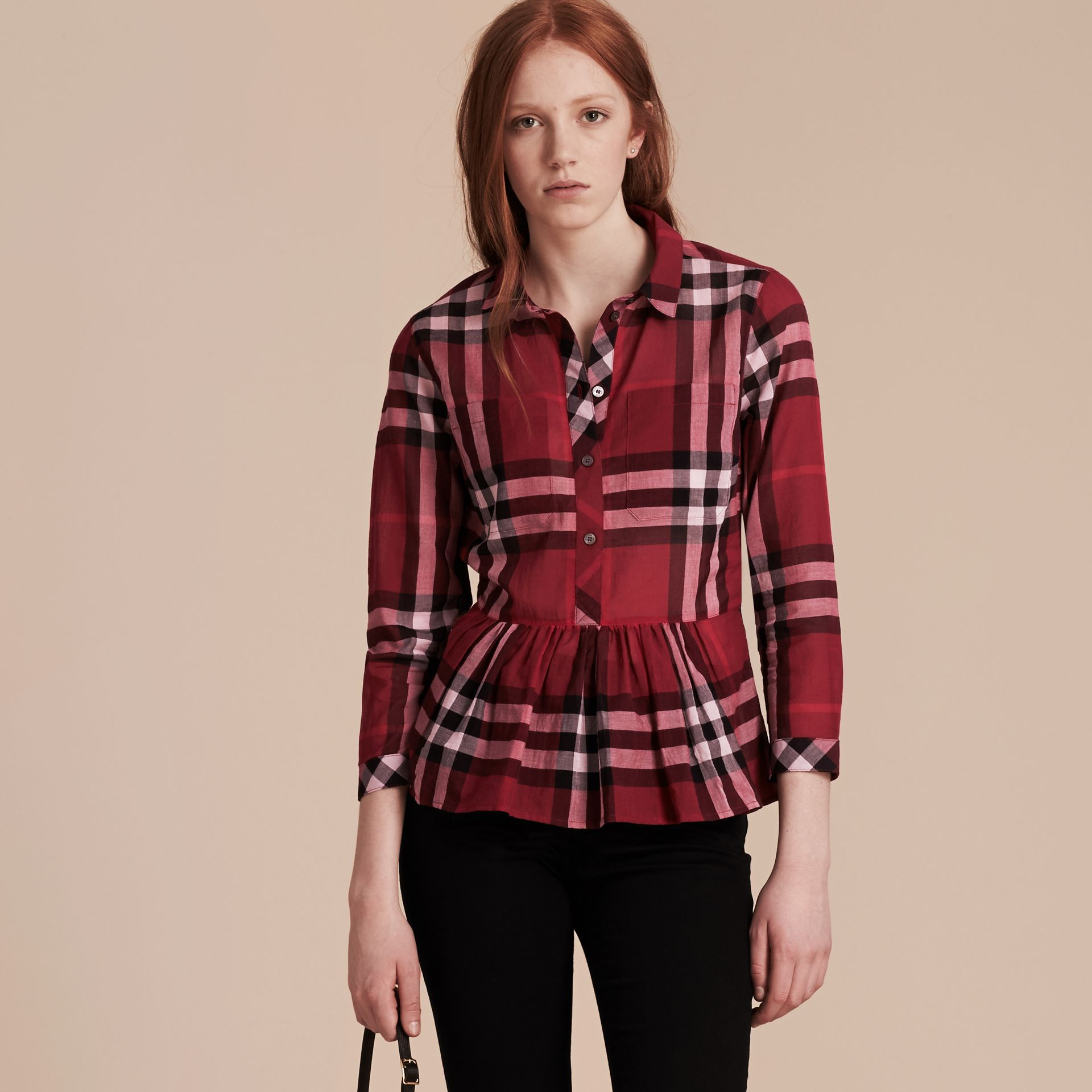 Poppy red Check Cotton Peplum Shirt Poppy Red - gallery image 6