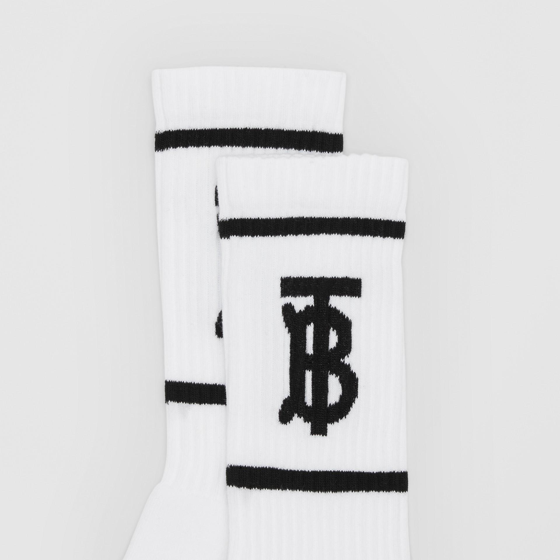 Monogram Motif Intarsia Socks in White/black | Burberry United Kingdom - gallery image 1