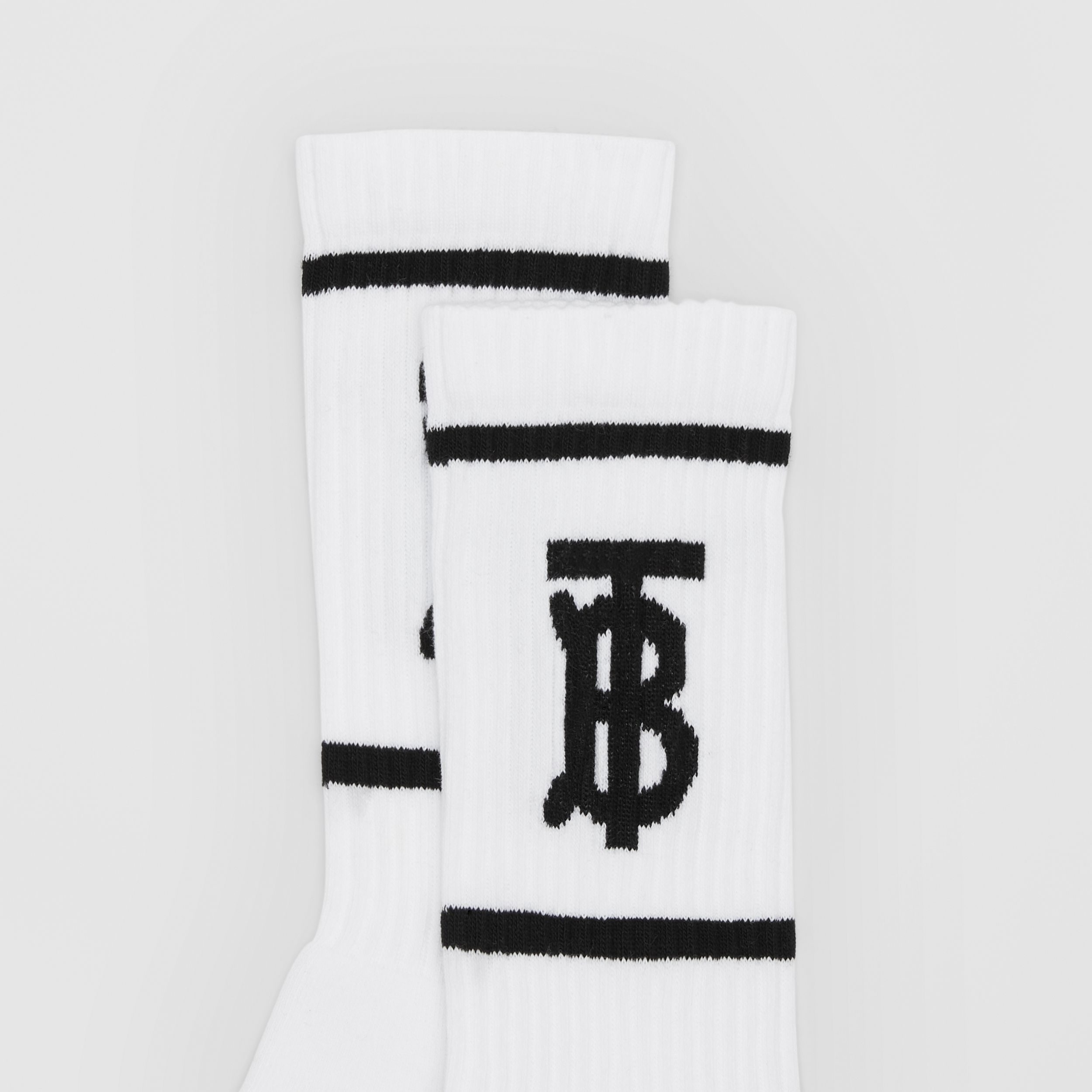 Monogram Motif Intarsia Socks in White/black | Burberry - 2