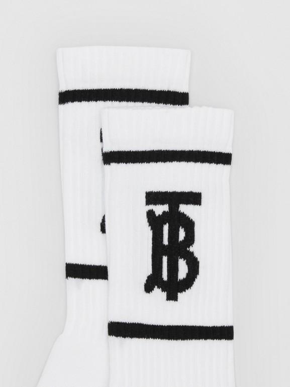 Monogram Motif Intarsia Socks in White/black | Burberry United Kingdom - cell image 1