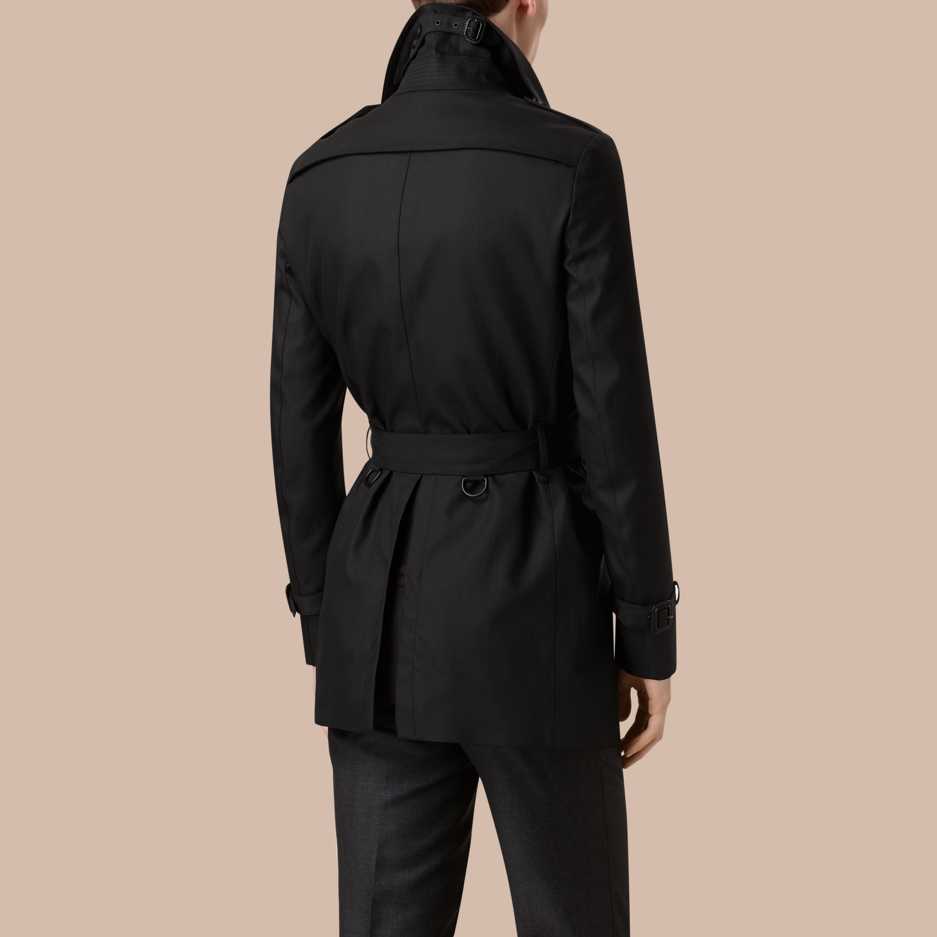 Black Cotton Gabardine Trench Coat - gallery image 2