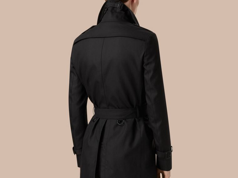 Black Cotton Gabardine Trench Coat - cell image 1