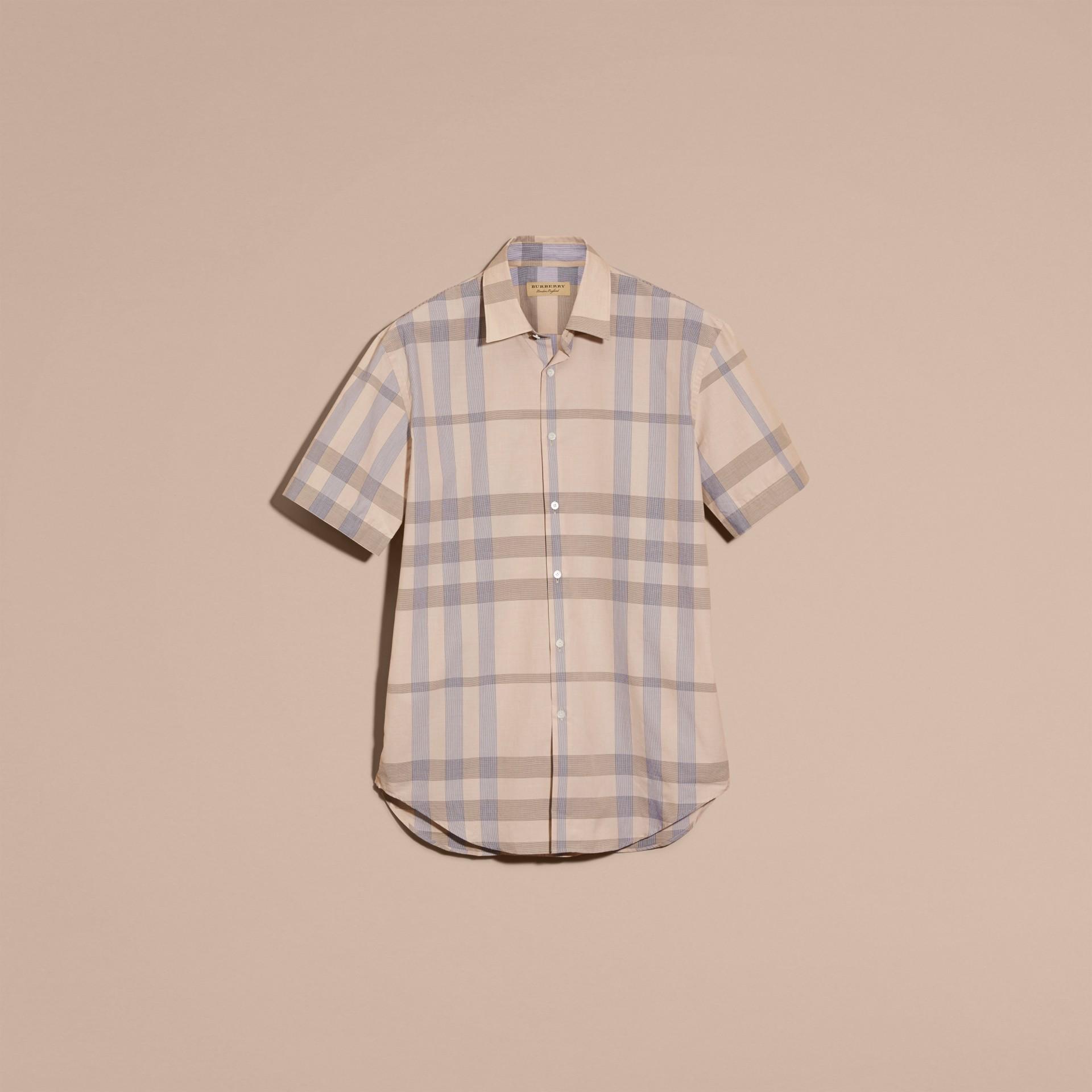 Cammello chiaro Camicia a maniche corte in cotone con motivo check Cammello Chiaro - immagine della galleria 4