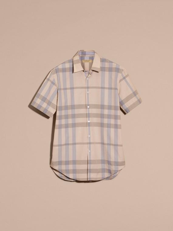 Light camel Short-sleeved Check Cotton Shirt Light Camel - cell image 3