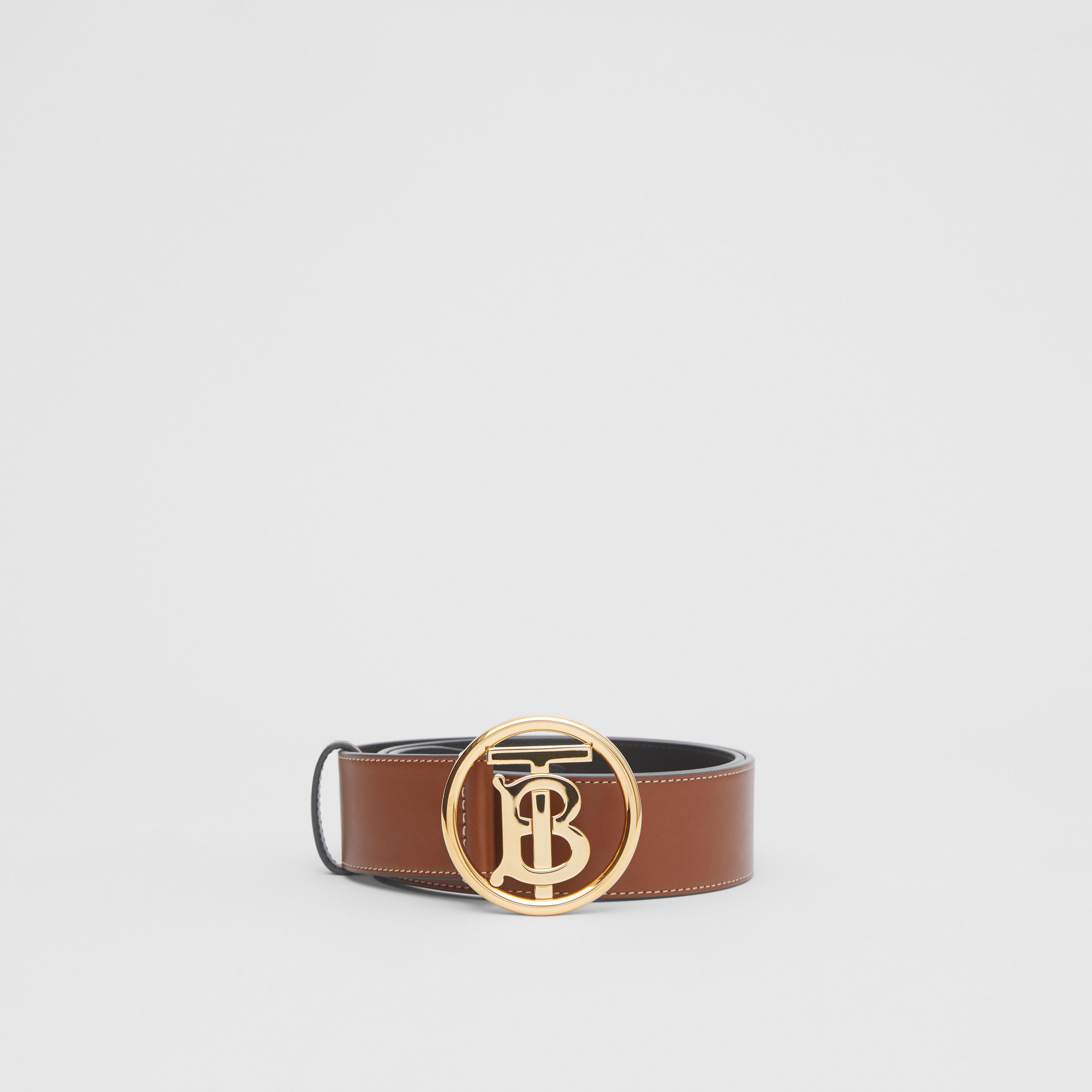 Monogram Motif Topstitched Leather Belt in Tan - Men | Burberry - 3