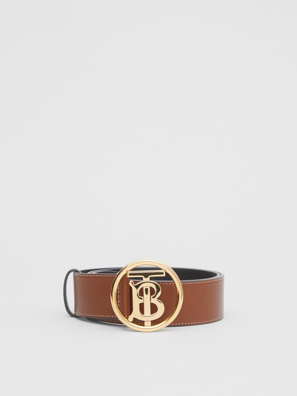 Monogram Motif Topstitched Leather Belt in Tan - Men | Burberry United Kingdom - cell image 2