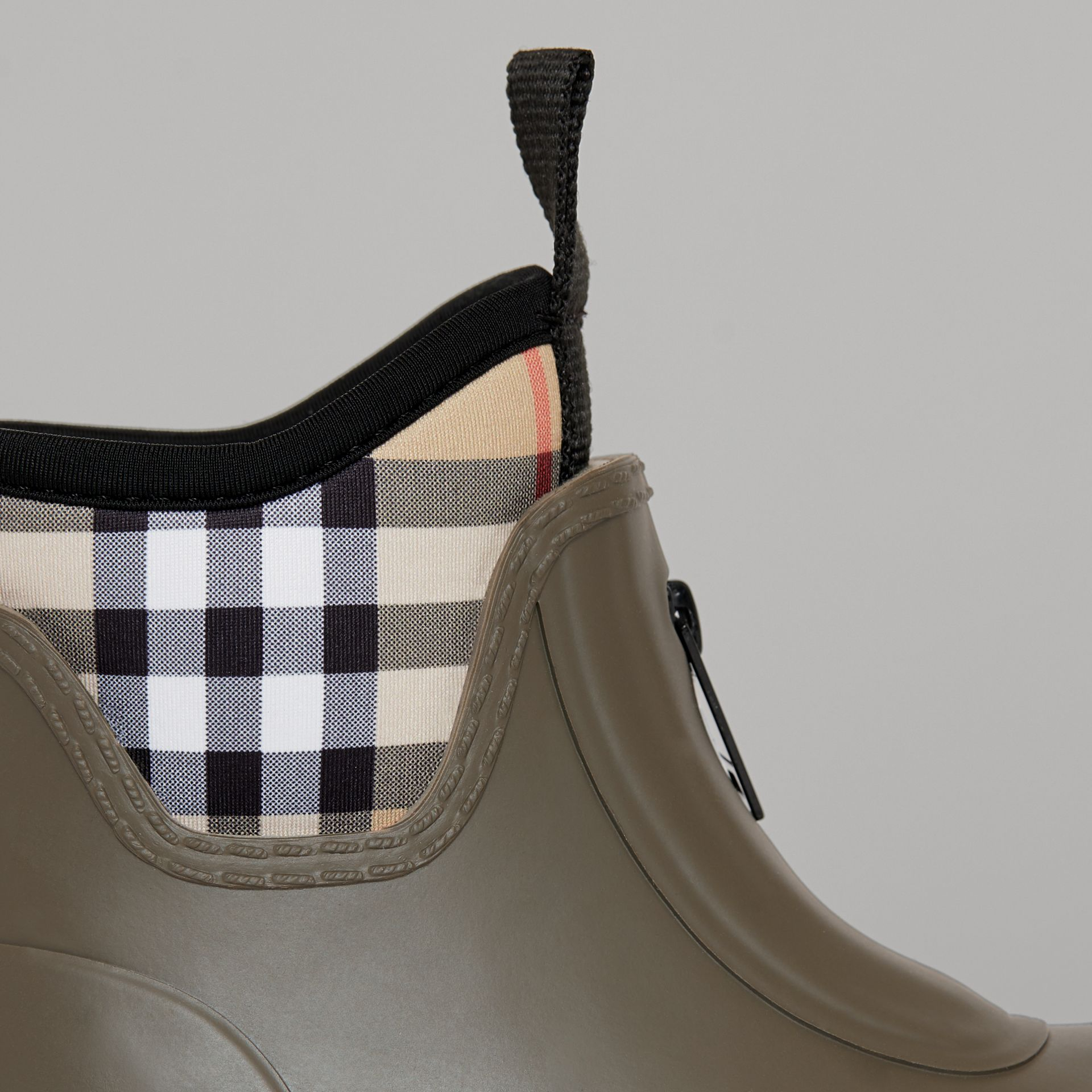 Vintage Check Neoprene and Rubber Rain Boots in Military Green - Children | Burberry - gallery image 1