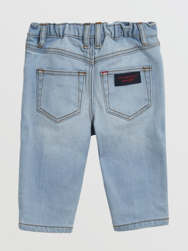Relaxed Fit Stretch Jeans in Light Blue - Children | Burberry United States - cell image 2