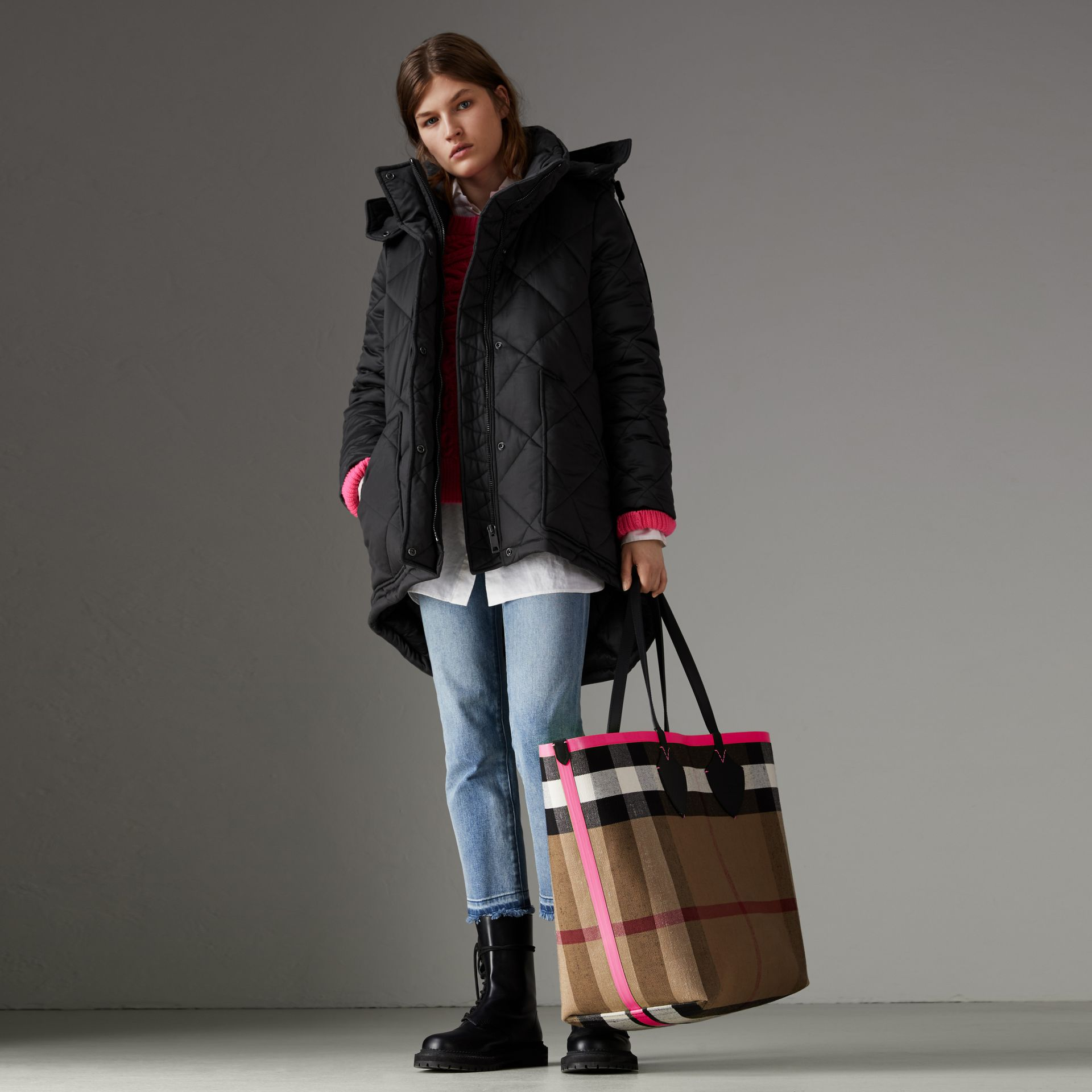 Detachable Hood Quilted Oversized Jacket in Black - Women | Burberry - gallery image 0