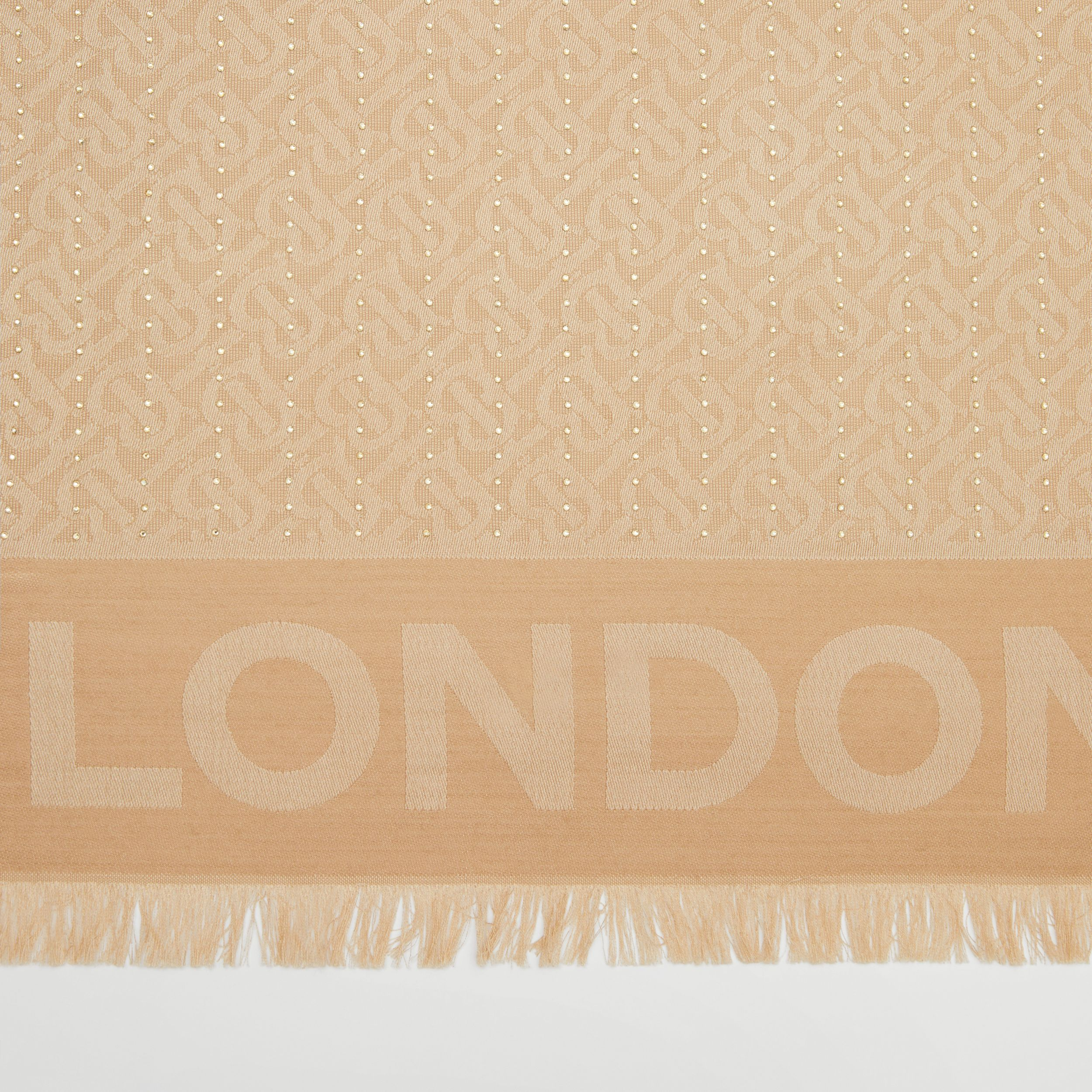 Crystal Pinstriped Silk Wool Large Square Scarf in Honey | Burberry Hong Kong S.A.R - 2