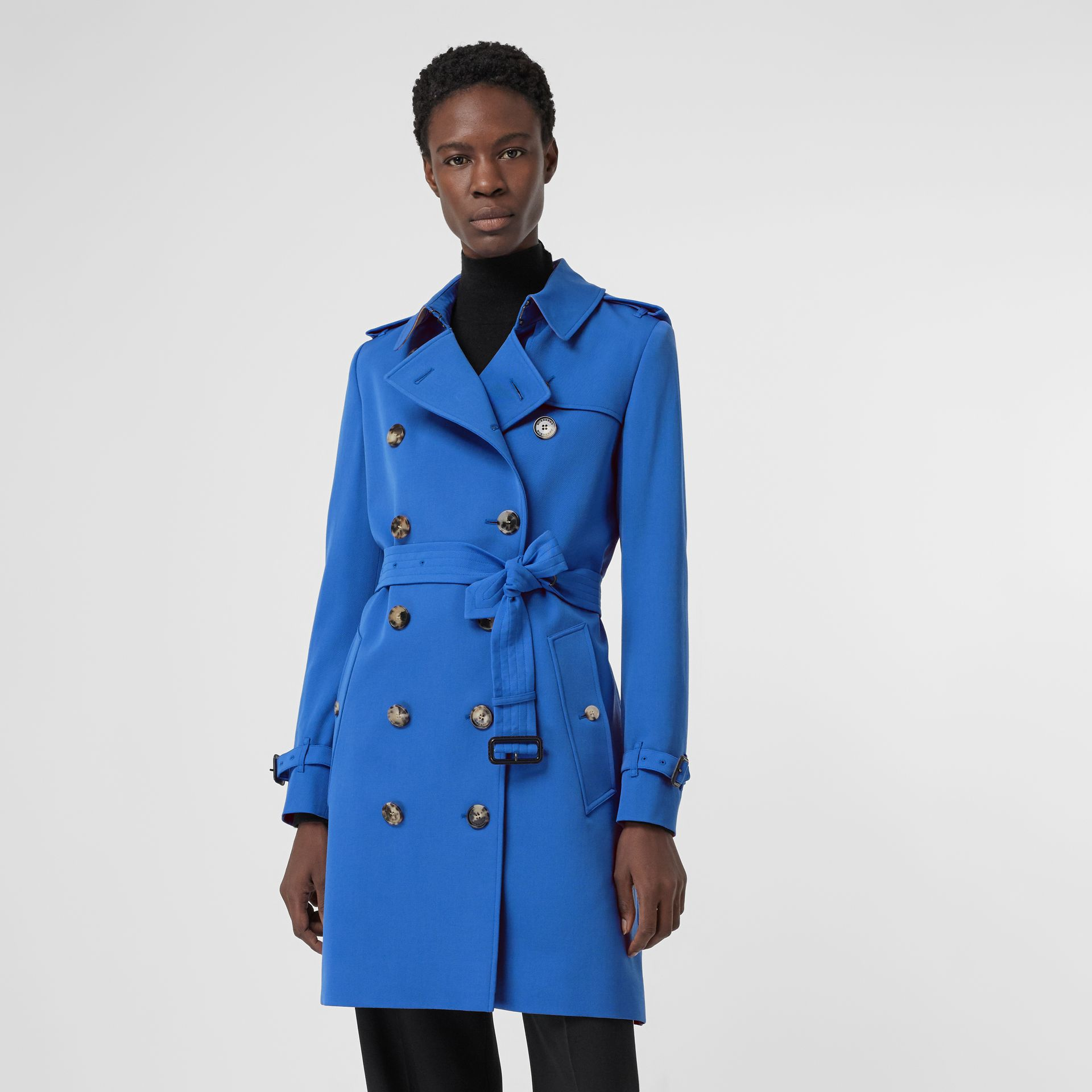 Wool Gabardine Trench Coat in Sky Blue - Women | Burberry - gallery image 5