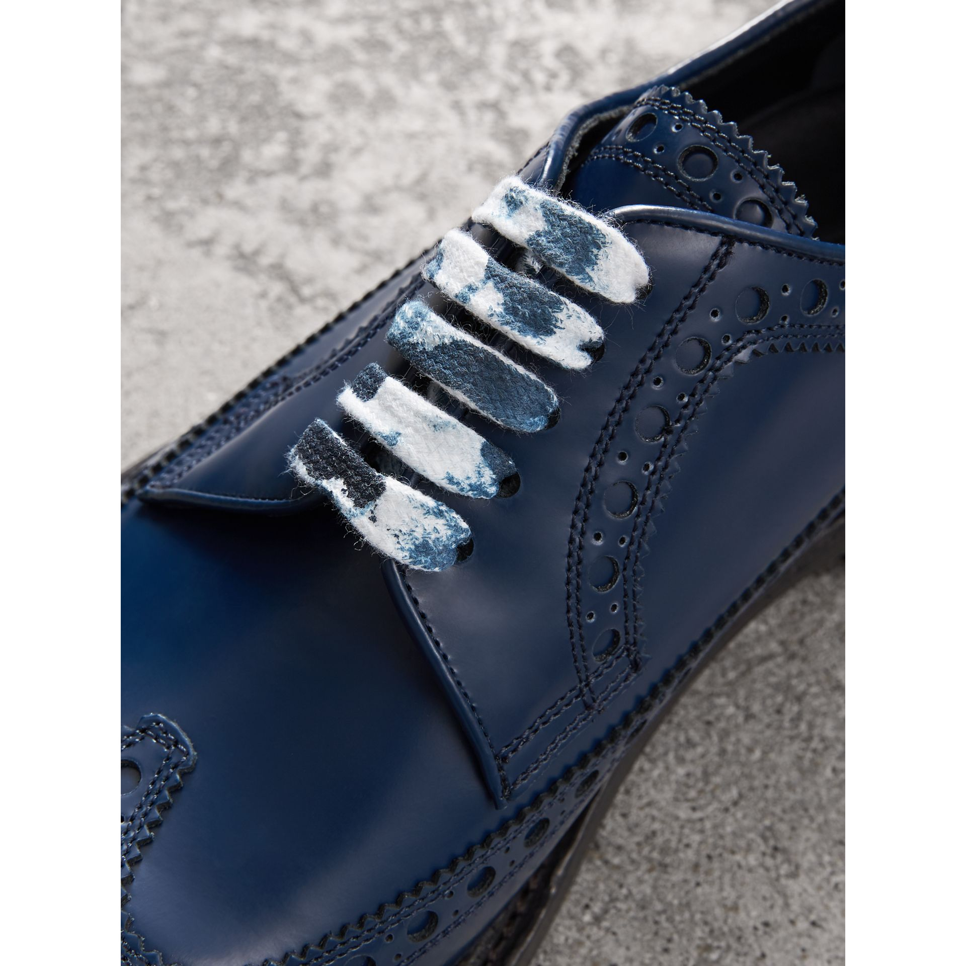 Leather Brogues with Painted Laces in Navy - Men | Burberry - gallery image 1