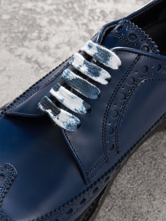 Leather Brogues with Painted Laces in Navy - Men | Burberry - cell image 1