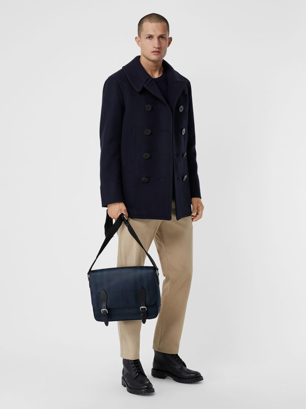 Medium Leather Trim London Check Messenger Bag in Navy/black - Men | Burberry - cell image 2