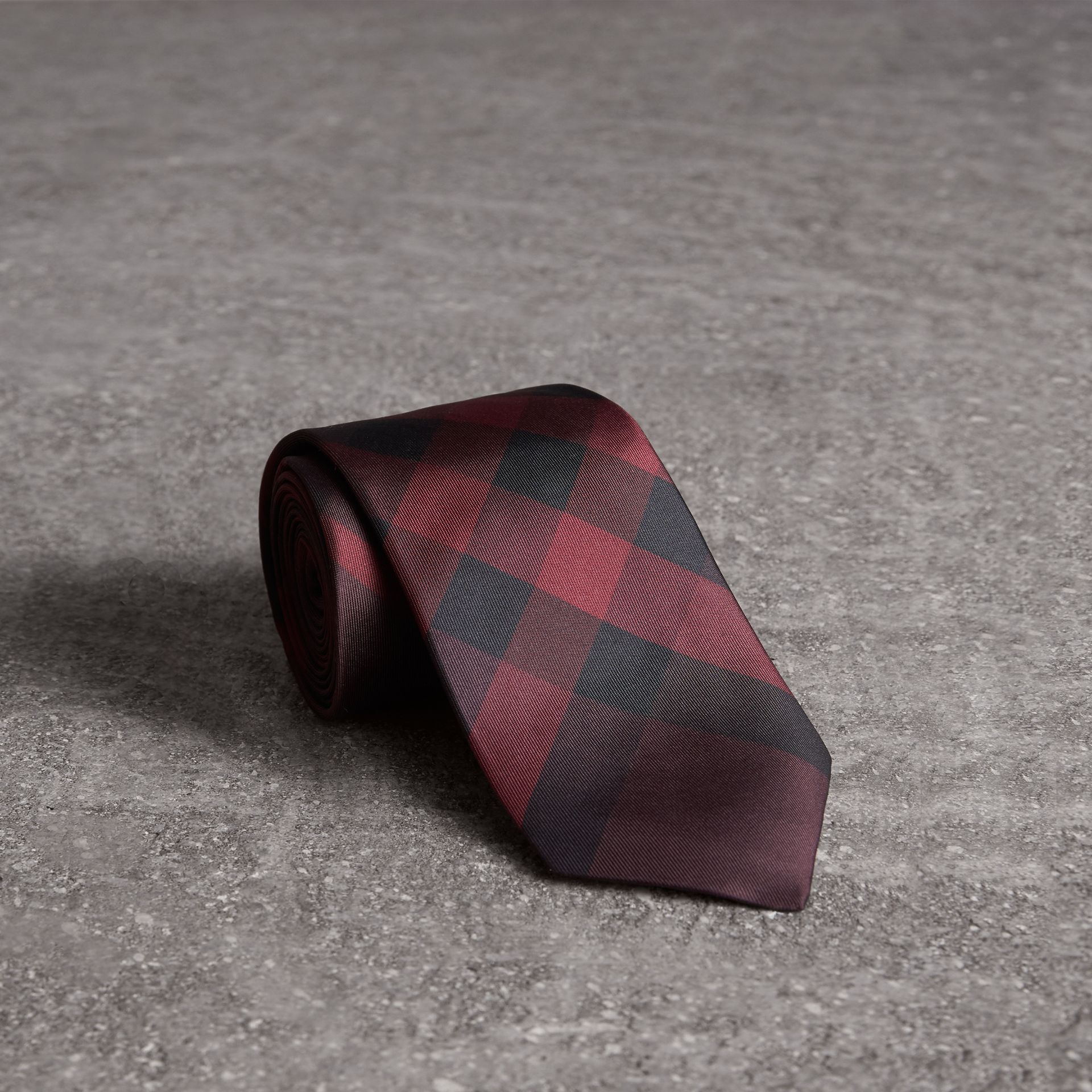Modern Cut Check Silk Tie in Deep Claret - Men | Burberry Australia - gallery image 0