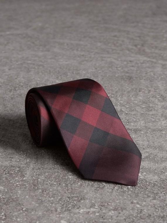 Modern Cut Check Silk Tie in Deep Claret