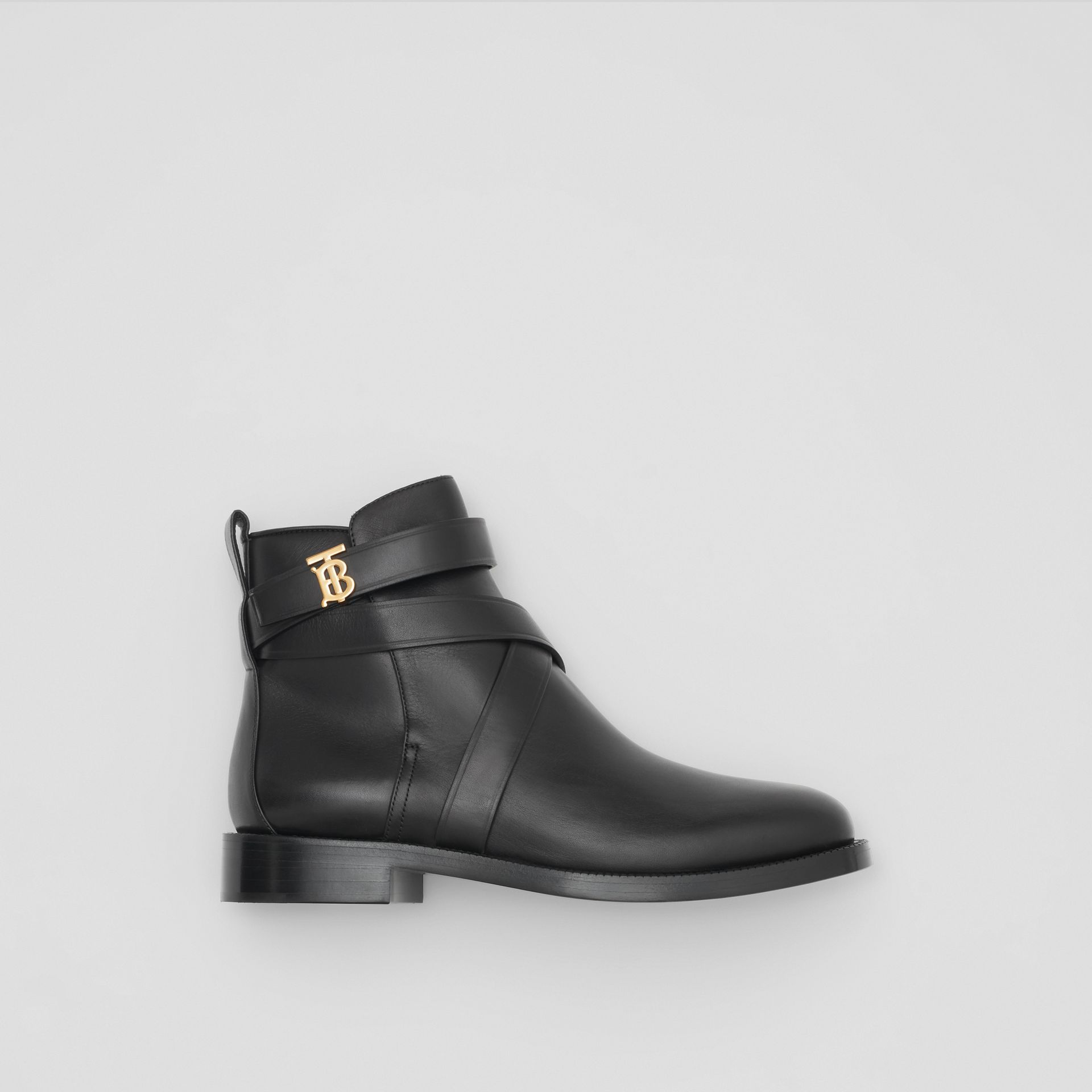 Monogram Motif Leather Ankle Boots in Black - Women | Burberry - gallery image 0