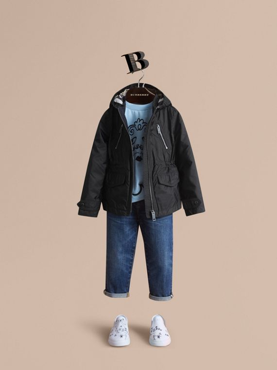 Hooded Packaway Technical Jacket in Black - Girl | Burberry Australia