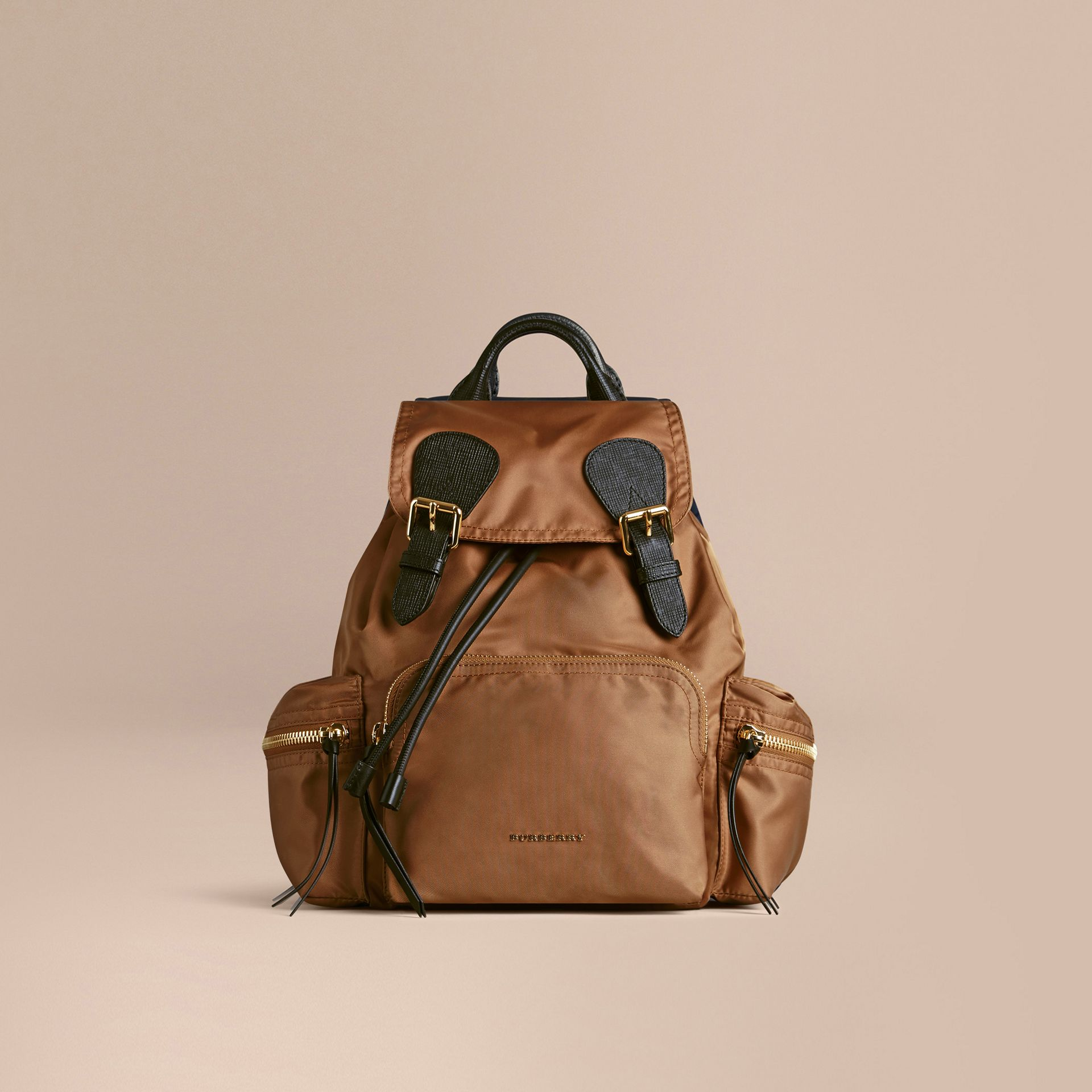 The Medium Rucksack in Technical Nylon and Leather in Light Flax - gallery image 3