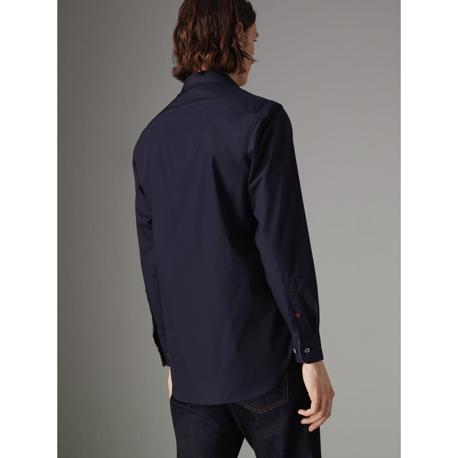 Contrast Button Stretch Cotton Shirt in Navy - Men | Burberry Canada - gallery image 2
