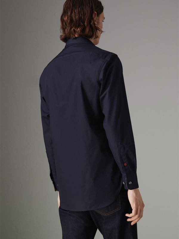 Contrast Button Stretch Cotton Shirt in Navy - Men | Burberry Singapore - cell image 2