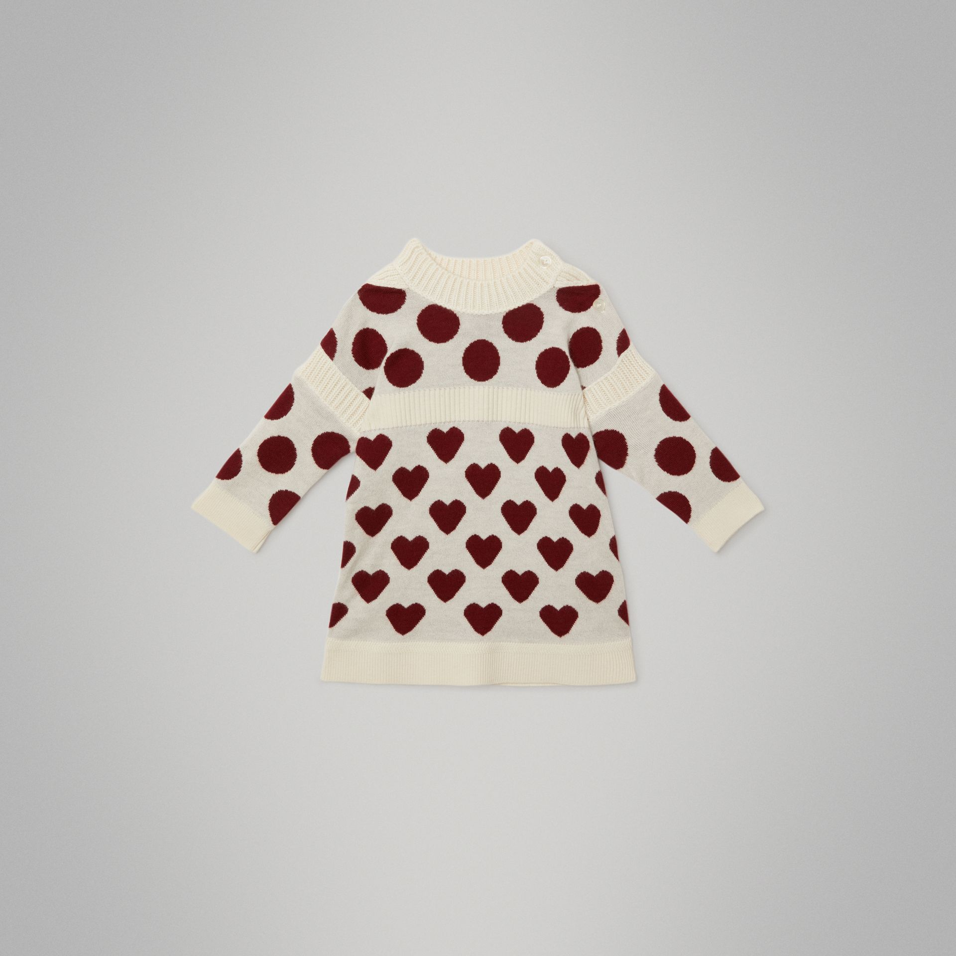 Heart and Spot Intarsia Cashmere Sweater Dress in Natural White - Children | Burberry - gallery image 0