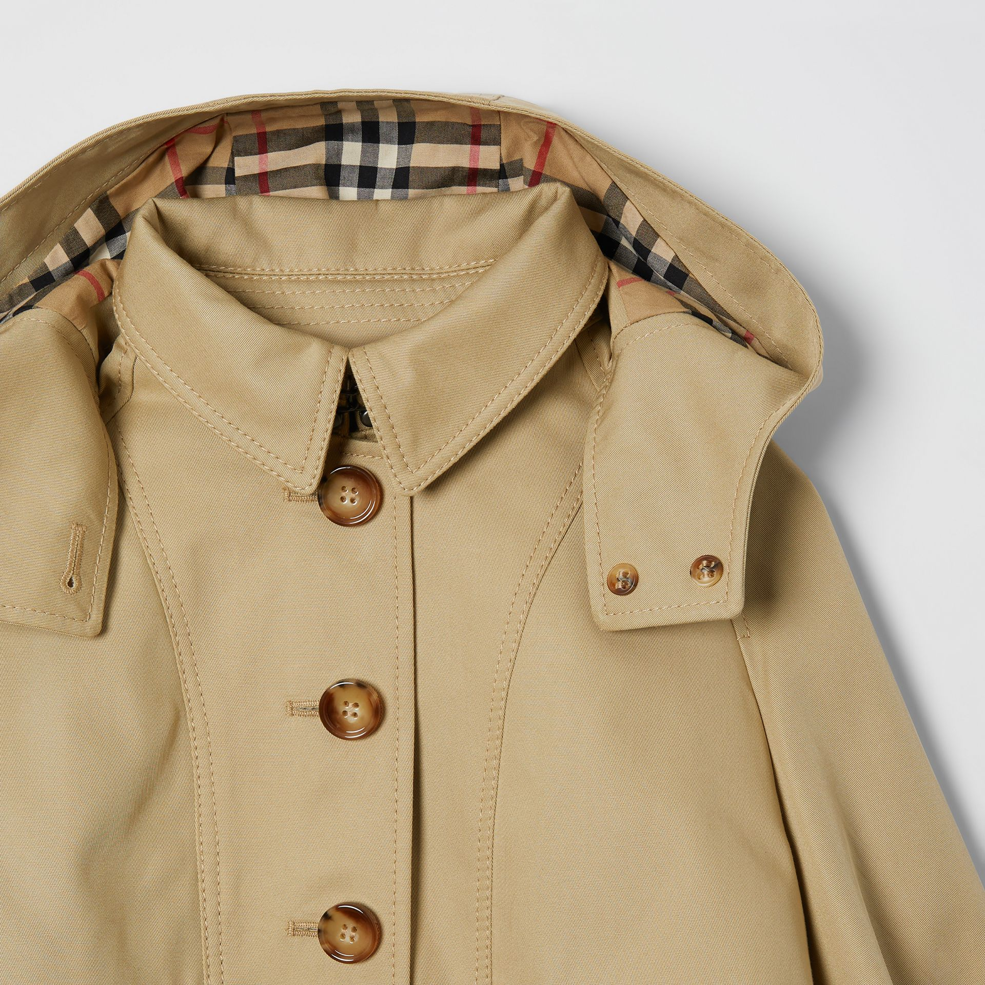 Detachable Hood Cotton Twill Trench Coat in Honey | Burberry - gallery image 4