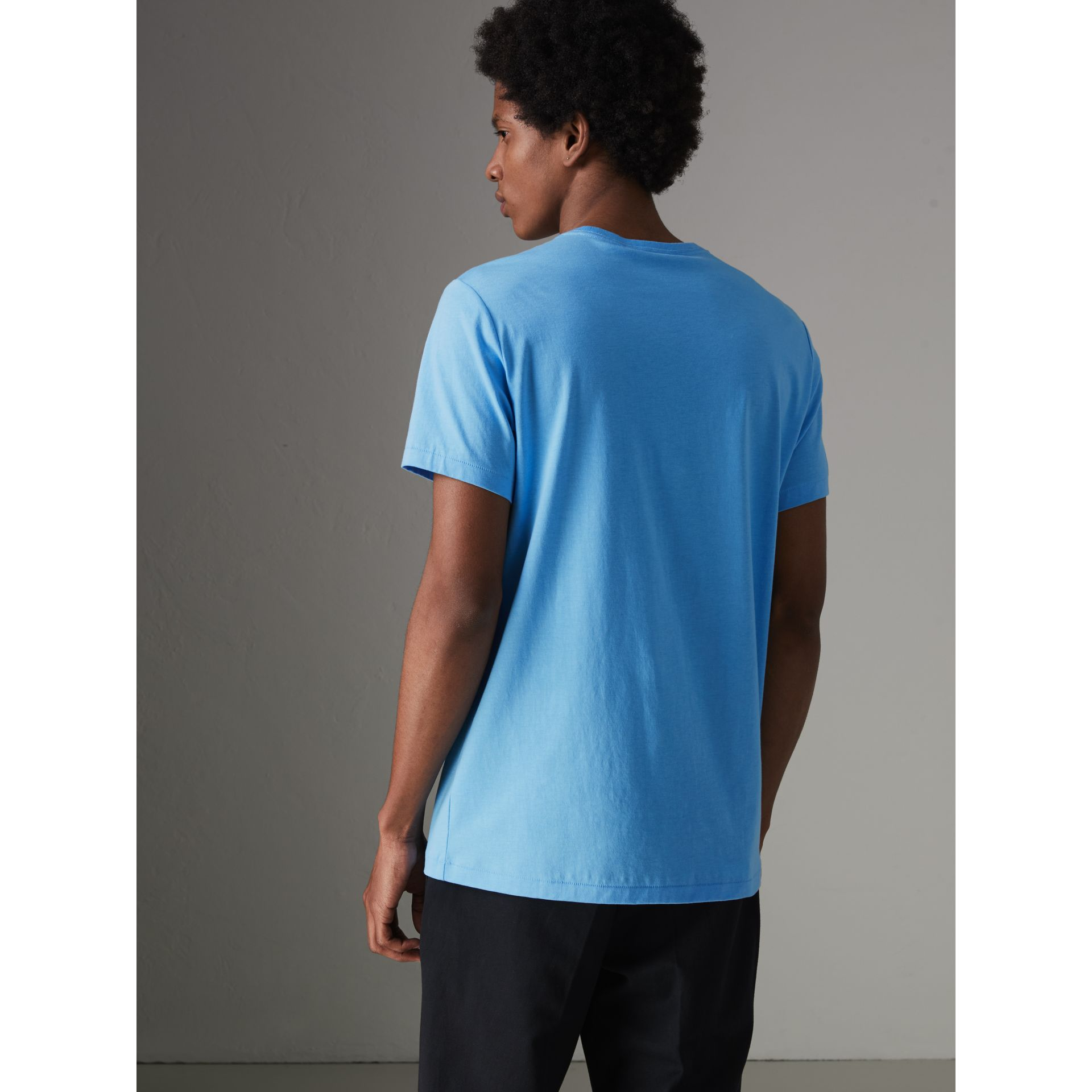 Cotton Jersey T-shirt in Blue Topaz - Men | Burberry Canada - gallery image 2