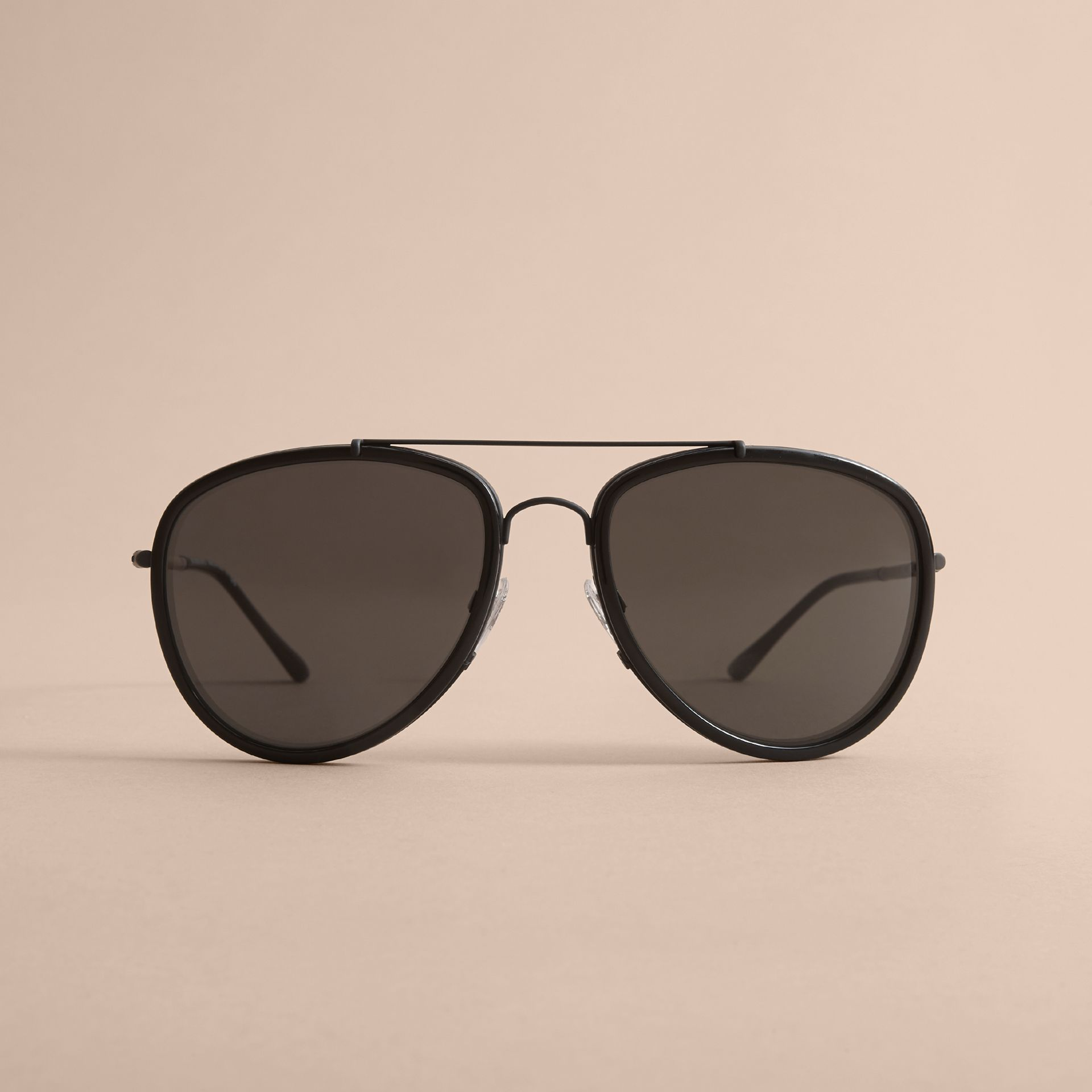 Check Detail Pilot Sunglasses in Black - Men | Burberry - gallery image 2